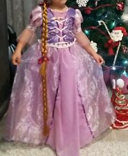 Rapunzel Tangled Girl Fancy Dress Princess Disney Cartoon Party Costume 2-7 Yrs