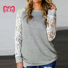 Feitong Women Sexy T Shirts Fashion Causal Lace Floral Splicing Hollow Sleeve