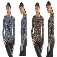 Womens Long Sleeve Round Neck Leopard Print Basic Ladies Stretch Top T-Shirt New