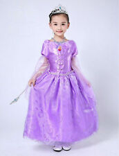 New Rapunzel Tangled Girl's Fancy Dress Full Length Disney Costume Gift Cosplay