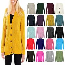 LADIES WOMEN PLUS SIZE CARDIGAN CHUNKY JACQUARD CABLE KNIT BOYFRIEND JUMPERS