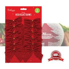 Red Velvet Bows Christmas Tree Present Wrapping Decoration Xmas Crafts Luxury