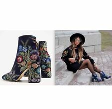ZARA Woman BNWT Navy Blue Floral Embroidered Detail Ankle Boots Ref: 2107/201