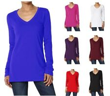Womens V NECK Long Sleeve Top Loose Jersey T-shirt Plus Size UK 8-28