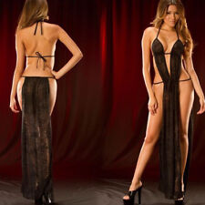 Womens Sexy/Sissy Transparent Long Dress Lingerie Babydoll Nightwear Erotic INT
