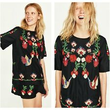 ZARA Woman BNWT Authentic Black Floral Embroidered Short Dress XS Ref. 3340/043