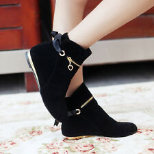 Autumn Womens Ankle Boots Metal Decor Faux Suede Flats Gladiator Shoes New