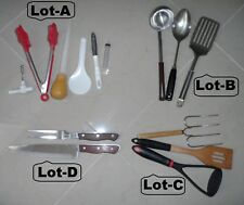 4 Lot Cooking Utensils Serving Spoon Fork Ladle Masher Toold Maxam Steel Knives
