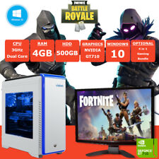 Fast Dual Core Fortnite Gaming PC + Monitor 4GB RAM 500GB HDD Windows 10