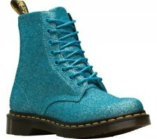 Mens Dr Martens 1460 Pascal 8 Eye Turquoise Blue Glitter Leather Boots Brand New