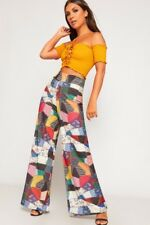 WOMENS LADIES PATCHWORK PATTERN PRINT PALAZZO TROUSERS HIGH WAIST WIDE LEG PANTS