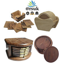 Coasters Set of 6 Wooden for Coffee Mug Cup Drinks Mats Coasters Round Non-Slip