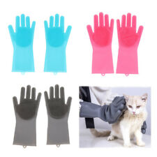 2Pcs Cleaning Brush Gloves Pet Dog Cat Massage Hair Removal Grooming Groomer