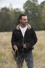 Rick Grimes The Walking Dead Season 4 Real Suede Furred Collar Leather Jacket,