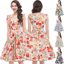 Dress Evening Size Pinup S-xl Cotton Floral Retro Vintage Party Swing 50s 60s