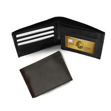 GENUINE LEATHER WALLET MEN BIFOLD MENS CARD HOLDER COIN POCKET PURSE ID WINDOW