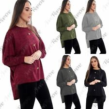 New Womens Long Sleeve High Low Front Button Oversized Baggy Blouse Batwing Top