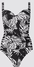 Marks & Spencer's Black Mix Palm Print Tummy Control Plunge Swimsuit Size 20 NEW