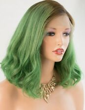 Ombre Green Human Hair Lace Front Wig 7A Brazilian Remy Short Bob Wigs for Women