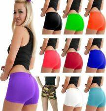 Ladies Neon Stretchy Plain Hot Pants Shorts Girls Dance Gym Club Wear Party Pant