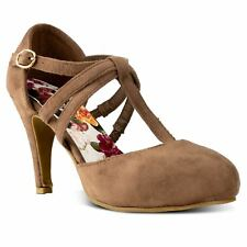 RF ROOM OF FASHION Coco-01 D'orsay Mary Jane T-strap Dress Pump in New Taupe SU