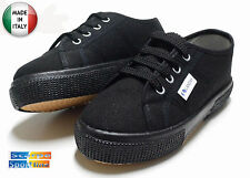 SCARPE SPORTIVE TENNIS LANDAY IN TELA NERO X SAGGI E RECITE MADE IN ITALY