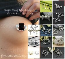 Surgical Fangs Nipple Ring Stainless Steel Jewellery Body Bar Piercing UK