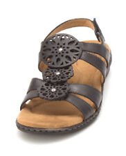 Natural Soul Womens Bev Leather Open Toe Casual Slingback Sandals
