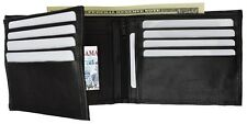 MENS WALLET GENUINE LEATHER PURSE BIFOLD CARD HOLDER COIN POCKET 2 ID WINDOWS