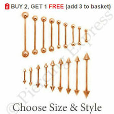 ROSE GOLD Straight Barbell Tongue Bar Steel Nipple Eyebrow Ear Tragus Piercing