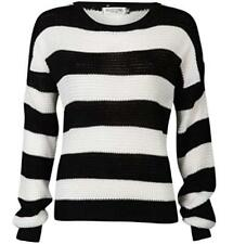 WOMENS LADIES CASUAL BLACK/ WHITE STRIPED CHUNKY KNITTED BAGGY JUMPER WINTER TOP
