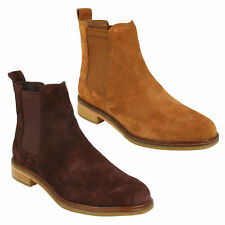 CLARKDALE ARLO LADIES CLARKS CASUAL PULL ON SUEDE ELASTICATED CHELSEA BOOTS SIZE