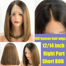 Ombre Brown Short Bob Wig 7A Brazilian Remy Human Hair lace Front Wigs for Women
