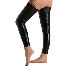 Women Lady Leather Thigh High Over Knee Socks Long Stockings Hosiery Nightclub