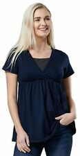 Happy Mama Women's Maternity Nursing Flared Blouse Elastic Empire Waist Top 169p