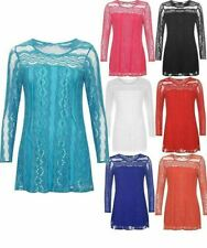 Ladies Floral Lace Lined Mesh Tunic Top Womens Round Neck Long Sleeve Party Top
