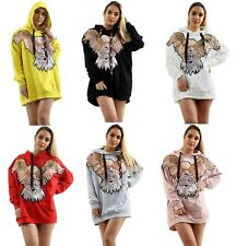 Ladies Eagle Sequin Oversized Long Sleeve Hoodie Women's Hooded Pullover UK 8-16