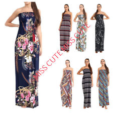 WOMEN'S LADIES BANDEAU STRIPED FLORAL PRINT BOOB TUBE LONG SLEEVELESS MAXI DRESS