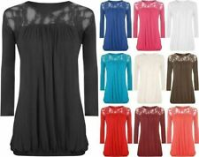 Womens Fancy Party Wear Pleated Flared Top Ladies 3/4 Sleeve Floral Lace Top
