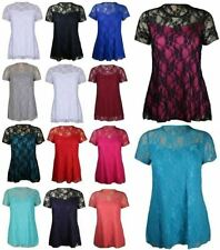Ladies Crew Neck Floral Lace Flared Tunic Top Womens Short Sleeve Party T Shirt