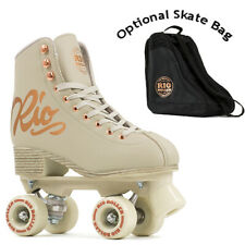 Rio Roller Quad Roller Skates Rose Cream - Optional Skate Bag