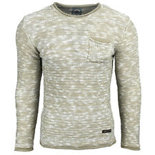 Subliminal Mode - Pull homme col rond - Tricot grosse maille chiné - Col a ras