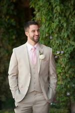 Groom Groomsmen Wedding Formal Light Beige Tuxedos Men Party Smart Suits Blazer