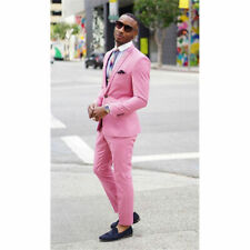 Men Pink Slim Fit Groom Suit Tuxedos Formal Groomsmen Wedding Suits Custom Made