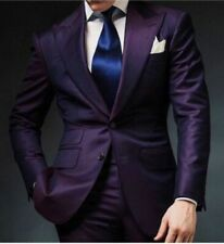 Purple Men's 2 Piece Peak Lapel Wedding Groom Tuxedos Groomsman Best Man Suits