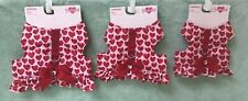 Smoochie Pooch Pink and Red Hearts Harness with Ruffle Bottom