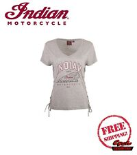 GENUINE INDIAN MOTORCYCLE BRAND T-SHIRT TEE WOMENS LADIES IMC MARL GRAY LACE NEW