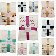 Embroidered 100% Cotton Towel Bale Set 4PC Face Hand and Bath Towel Set