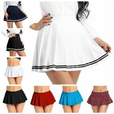 Women's High Waist Plaid Stretch Flared Pleated Skater Skirts Cosplay Costumes