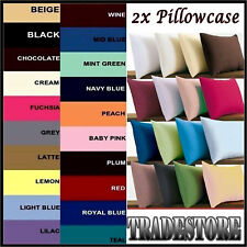2 x Luxury Plain Dyed 68 Pick Poly-Cotton Housewife Pillow Case Cases Pack